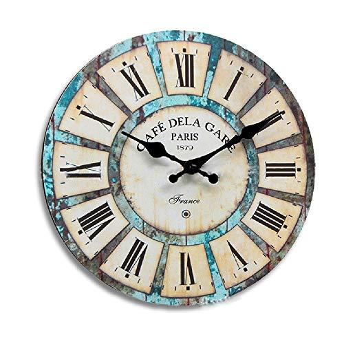 Reloj de pared grande Estilo europeo reloj de pared creativo reloj de la sala de estar del reloj de pared de madera silenciosa de pared de cuarzo de la moda retro simple reloj de la personalidad sala