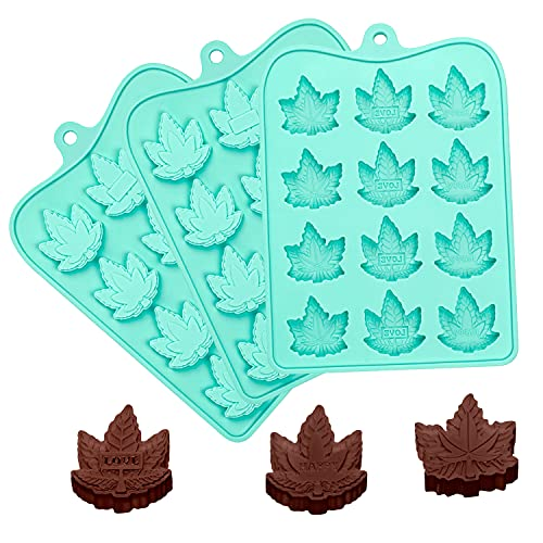 Kidsjoy Candy Chocolate Gummy Silicone Molds: 3 Packs Non-Stick Food Grade Maple Leaf Shape Molds with Letter Engraved for Baking/Cookie/Jello/Cupcake/Ice Cube/Birthday Cake/Party