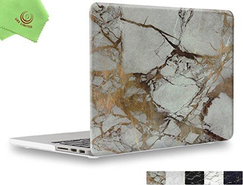 """UESWILL Estuche rígido suave suave al tacto de Marble Pattern para MacBook Pro 15 """"con pantalla Retina (A1398) + paño de limpieza de microfibra, (blanco/dorado)"""