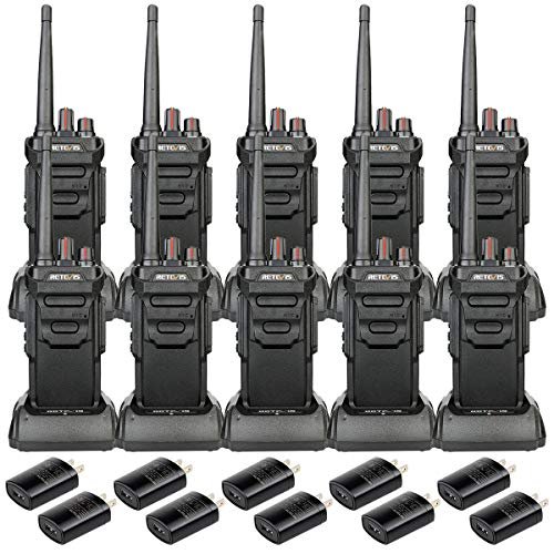 Case of 10,Retevis RT48 IP67 Waterproof Walkie Talkie Long Range, Rechargeable Walkie Talkies for Adults,Rugged Security Commercial Two Way Radios Warehouse Construction