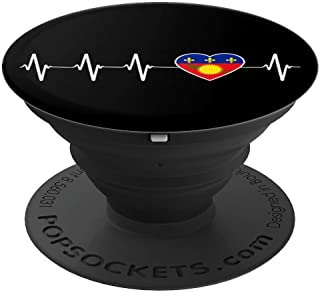 Guadeloupean Heartbeat I Love Guadeloupe Flag Country Gift PopSockets Grip and Stand for Phones and Tablets