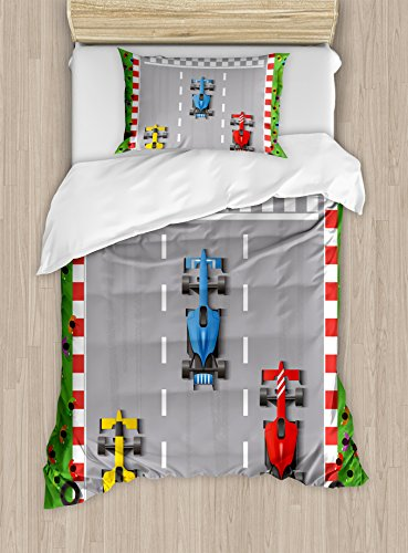 Lunarable Nursery Duvet Cover Set, Car Race Formula Automobiles Competition Winner Champion Speed Team Graphic, Decorative 2 Piece Bedding Set with 1 Pillow Sham, Twin Size, Grey Red