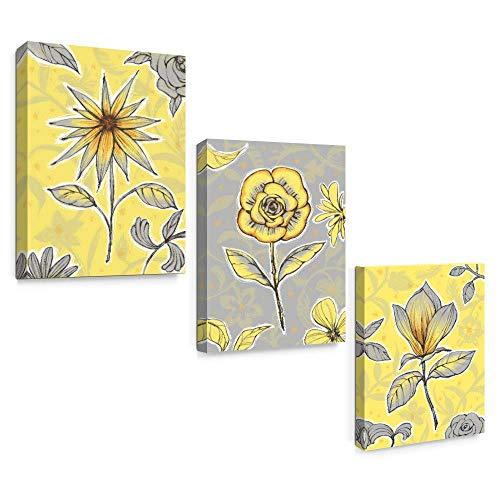 SUMGAR 3 Paneles de lienzos Impresos en Color Amarillo y Gris para Par