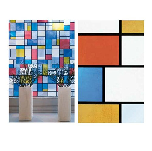 Bunte Fensterfolie Mondriaan Adhesive - Klebefilm Bleiglas Look 0,67 m x 2 m Karo bunt