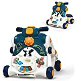 BABY JOY Sit-to-Stand Walker, 3 in 1 Baby Walker, Ride on Car, Game Panel, Kids Multifunctional Activity Center w/Lights, Music, Cute Toys, Educational Push Pull Learning Walker for Toddlers (Blue)