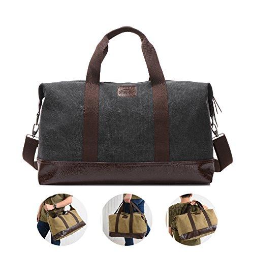 Overmont 36I Vintage Canvas Unisex Reisetasche Gym Tasche Weekender Tasche Handgepäck Sporttasche für Reise am Wochenend Urlaub Khaki/Schwarz/Grau/Militärgrün/Braun