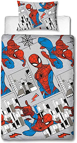 Spiderman Single Duvet Cover Reversible Bedding Set With Matching Pillow Case (Grey)