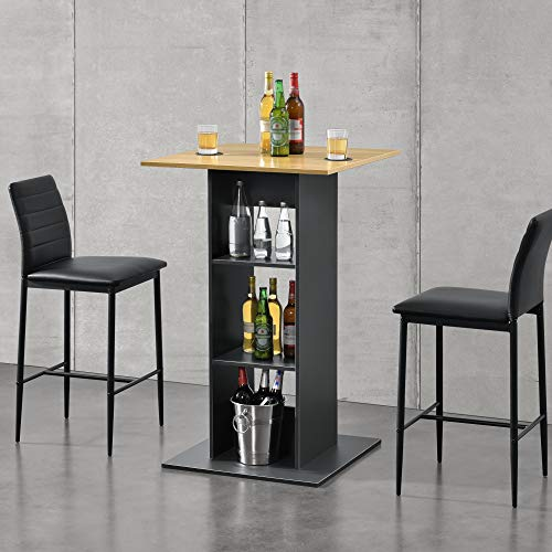 [en.casa] Bartisch Quadratisch 110x70x70cm Bistrotisch mit 3 Regalfächern Stehtisch Bartheke Tresentisch Dunkelgrau/Holzfarben