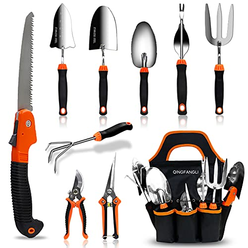 QINGFANGLI Garden Tool Set, 10 PCS Stainless Steel Heavy Duty Gardening Tool Set with Soft Rubberized Non-Slip Ergonomic Handle Storage Tote Bag, Gardening Tool Set Gift for Women and Men