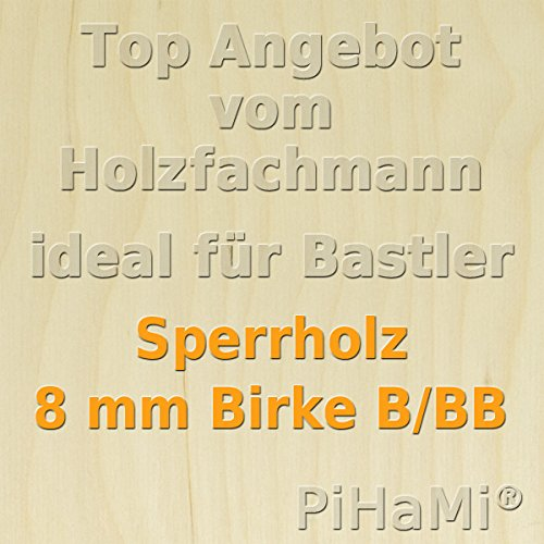 PiHaMi® 8 mm Birke Sperrholzplatte Qualität B/BB (76 x 50cm) GP 18,13 € pro m²