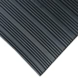 Rubber-Cal 03_167_W_CO_10 Composite Rib Corrugated Rubber Floor Mats, 1/8' Thick x 3' x 10' Roll, Black