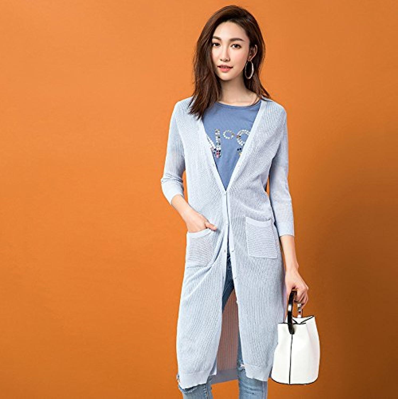 Xuanku Wild Pullover V Für Lange, Dünne Strickjacke Klimaanlage Yi Wilde Frau Gestrickt Shirt B0756139KH  Offizielle Webseite