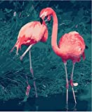 Pintar Por Numeros Kits Adultos, Animal Flamenco Rosado Para Adultos Y Principiantes Pintura Acrílica Diy Kit, Adecuados Regalos Navideños 40X50 Cm