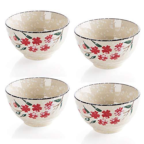 Ciotole per cereali e zuppa da 12 once, set di 4 ciotole, robuste e impilabili, ciotole in porcellana per cereali / insalata / pasta / zuppe, lavabili in microonde (lian xue, 4)