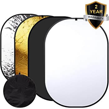 Photography Backdrop, Heorryn 4 in 1 Collapsible Reversible Background Panel 5x7ft Chromakey White Black Screen with Carry Bag, 100% Cotton,Muslin