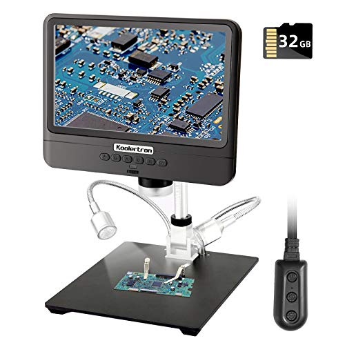 8.5 inch LCD Digital USB Microscope with 32G TF Card, Koolertron 12MP Camera Video Recorder,Rechargeable Battery,Support Image Flip/Reverse Color/Black & White for Circuit Board Soldering PCB Coins