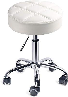 Leader Accessories Sgabello da Lavoro con Ruote Sedie da Bar Cromato Regolabile Girevole Bianco