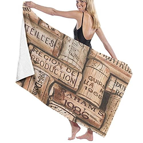 SUDISSKM Toalla de Playa de Playa de Microfibra Grande,Botella Copa Vino Bar UVA Merlot Antiguo Restaurante Cabernet Botella Vino Salpicaduras,Toalla de Baño Suave de Secado Rápido 130x80CM