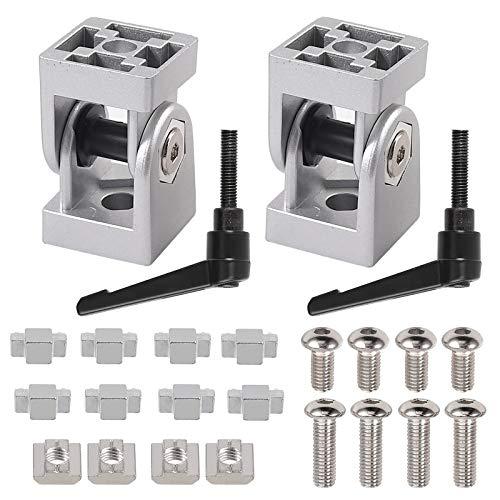 Einstellbarer Winkelverbinder, JiGiU 2 Stück Gelenkverbinder 30x30 Nut 8, Aluminiumprofil Gelenk aus Zinklegierung 180 ° Drehbereich mit Hebel Klemmhebel Montagezubehör für Aluprofil 3D Drucker