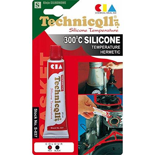 Mastic adhésif silicone haute température noir Thermorésistant jusqu'à 300°C - 20ml