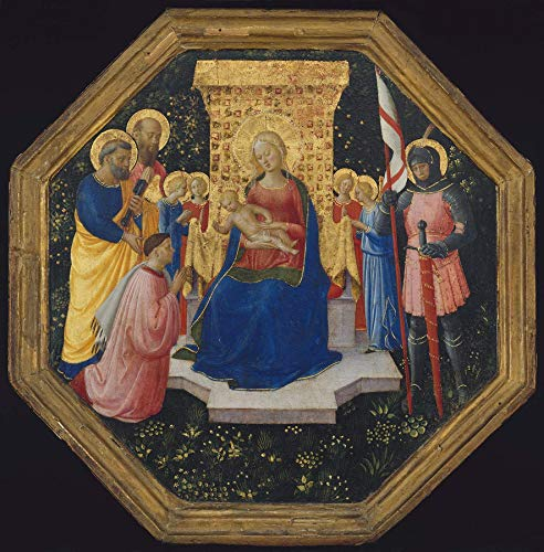 """Fra Angelico Virgin and Child Enthroned with Saints and a Donor 1446-1449 Museum of Fine Arts Boston 24"""" x 24"""" Fine Art Giclee Canvas Print (Unframed) Reproduction"""