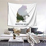 Tapiz Mural para Sala de Estar Animales salvajes de Canadá Supervivencia en la naturaleza Tema Caza Camping Viaje Pasatiempo al aire libre Tapestry Colgante de Pared Decoración para Dormitorio60'X40'
