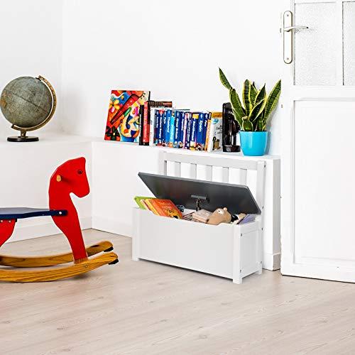 WOLTU SPK001 Kindersitzbank mit Stauraum, Spielzeugkiste zum Sitz und Aufbewahrung Truhenbank, 58x26x53cm, passend zu Sitzgruppe, Weiß+Grau - 2