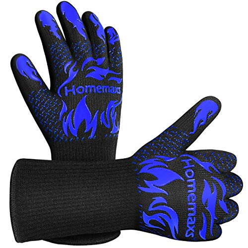 Homemaxs BBQ Gloves, 1472℉ Extreme Heat Resistant Grill Gloves, Ultra-Long Wrist Grill Gloves,...