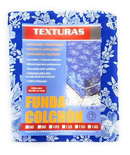 TEXTURAS HOMEKlassischer Matratzenüberzug, mit Reißverschluss, Größe L, verschiedene Größen erhältlich 90 x 190 cm blau