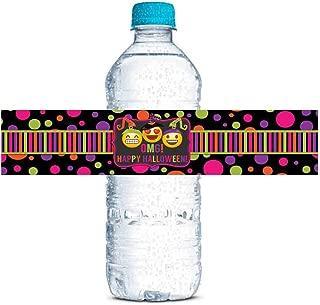 Neon Emoji Witches Halloween Waterproof Water Bottle Sticker Wrappers, 20 1.75