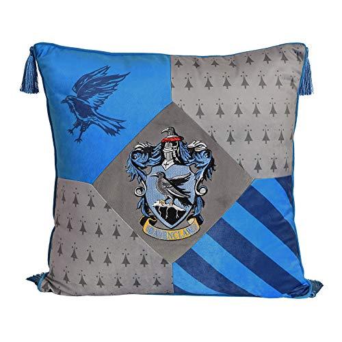 Elbenwald Harry Potter Almohadas con borlas en el diseño de Ravenclaw con Parche Cresta Bordado en los Colores de la casa Azul Plateado 48 x 48 cm 24