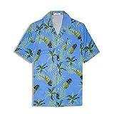 アロハシャツ メンズ 半袖 ハワイ風 プリントシャツ 通気速乾 軽量 花柄シャツ 夏 ビーチ ウェディング ウエア パイナップル ブルー XL