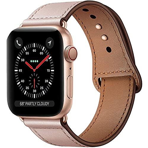 Qeei - Correa de repuesto para Apple Watch de 38 mm y 40 mm de piel auténtica, diseño innovador con hebilla oculta minimalista para iWatch Series 6 SE y 5 4 3, rosa