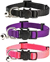 YUDOTE Pack of 3 Nylon Cat Collar with Bell & Quick Release Durable Buckle, Adjustable, Breakaway Collars, Safety, Durable, One Size Fit All Cats & Small Dogs, Neck 7.5