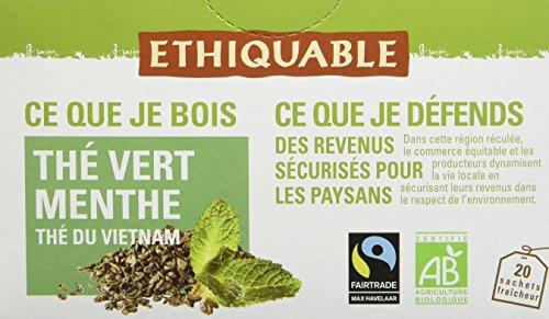 Ethiquable Thé Vert Menthe Vietnam Bio et Équitable 20 Sachets Max Havelaar