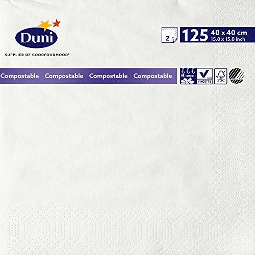 Duni 178994 2 plis Serviettes en papier, 40 cm x 40 cm, Blanc (lot de 1250)
