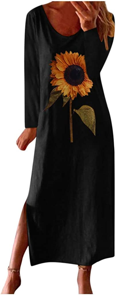 Forwelly Long Maxi Dress for Women Plus Size Casual Sunflower Print Long Sleeves Dress Boho Sundress