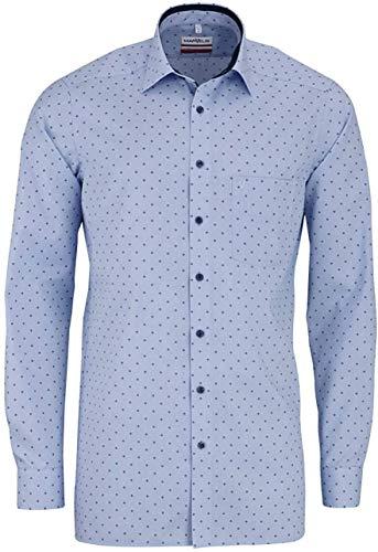 Marvelis Modern Fit Hemd extra Langer Arm New Kent Kragen Muster blau Größe 42
