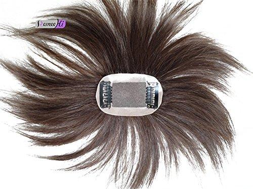 Remeehi Mono Haarteil / Toupet mit Clip für oben, von Hand gebunden, Echthaar, für Haarausfall oder dünnes Haar