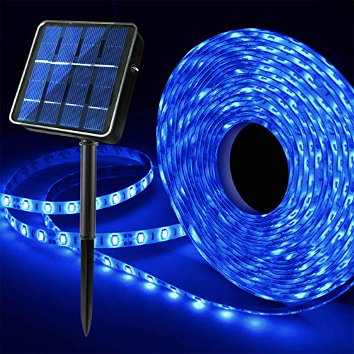 Solar Blue LED Strip Lights, Outdoor Waterproof 19.6FT 180 LED Solar Powered LED Lights Strip, 8 Lighting Modes Summer Swimming Pool Stair Step Gazebo Canopy Deck Accent Lighting