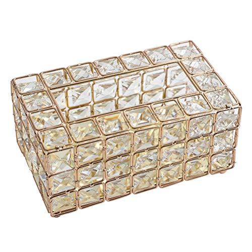 Macabolo Rechteckige Luxus Gold Metall Kristall Tissue Serviette Box Toilettenpapier Aufbewahrungsbehälter Desktop dekorative Ornamente für Küche Wohnzimmer Esszimmer