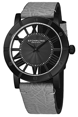Stuhrling Original Black IP Stainless Steel Mens Watch Grey Leather Strap - Swiss Quartz Ronda Mvmt - Black Dial Sports Watch - 881 Watches for Men Collection