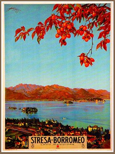 A SLICE IN TIME Stresa-Borromeo Stresa Lago Lake Maggiore Italy Vintage Italian Travel Advertisement Art Poster Print. Measures 10 x 13.5 inches