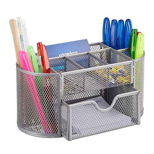 Relaxdays Schreibtischorganizer, Büroablage mit Stiftehaltern & Schublade, Metall Mesh, HBT: 10,5 x 22 x 11 cm, silber