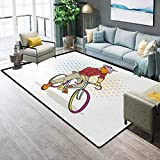 Retro Living Room Rugs Bath Rugs for Bathroom Hipster Goat on Bicycle Fashion Model Horns Hooves Teenager Boy Colorful Artwork Marine Carpet Multicolor W6x L7 Ft