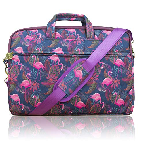 TaylorHe 15.6 inch 15 inch 16 inch Poly Canvas Laptop Shoulder Bag with Patterns, Side Pockets Handles and Detachable Strap Flmingos Tropical Flowers
