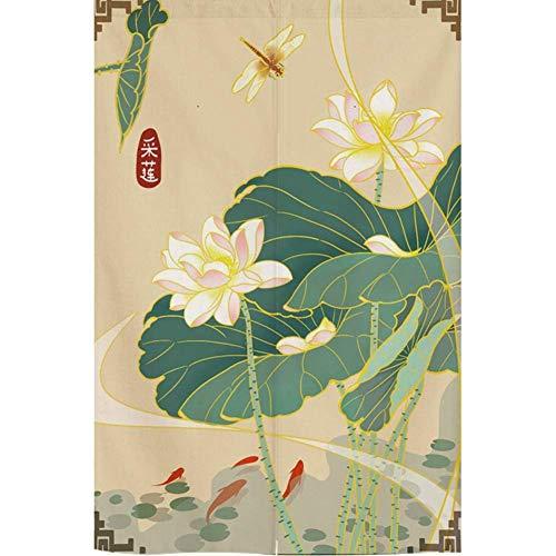 MIEMIE Cortina de Puerta para la Cocina del hogar, Tapiz japonés para Colgar en la Pared de decoración del hogar con Varilla telescópica, Cortina de Puerta de Entrada L 85x150 cm (33x59 Pulgadas)