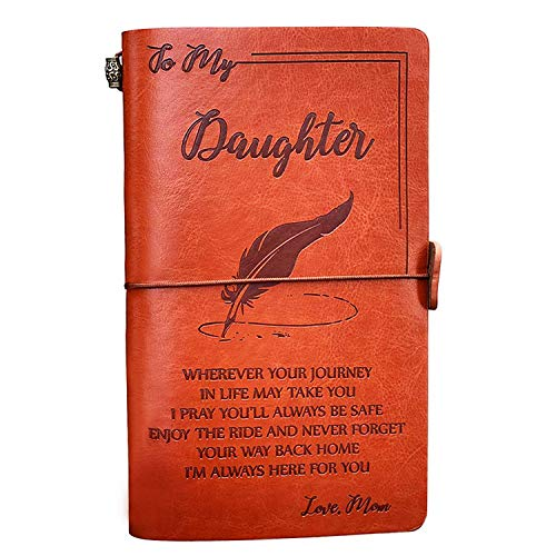 To My Daughter Leather Journal from Mom - Enjoy the Ride and Never Forget the Way Home Notebook - 136 Page Travel Diary Journal Sketch Book Graduation Back to School Gift for Girls