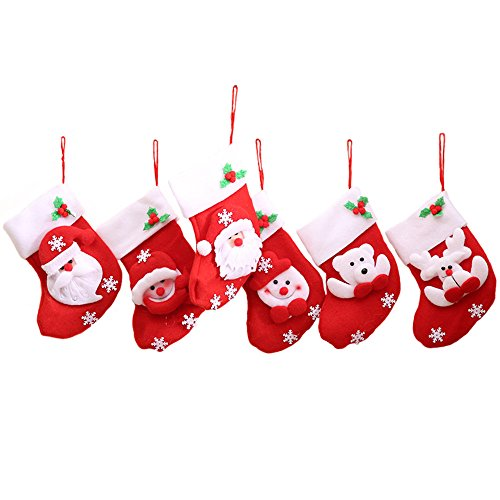 12 Pezzi Rosso Calze Di Natale Borsa Da Tavolo, Decorazioni Natalizie, 3D Babbo Natale/Pupazzo Di Neve/Renna(Consegna Casuale)