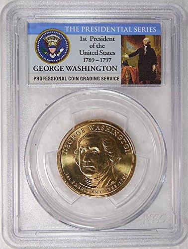 2007 P Pos. B George Washington Presidential Dollar PCGS MS 65 FDI Presidential Label Holder